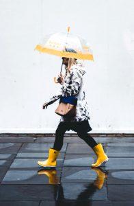 Op zijn Hollands, wandelen in de regen.